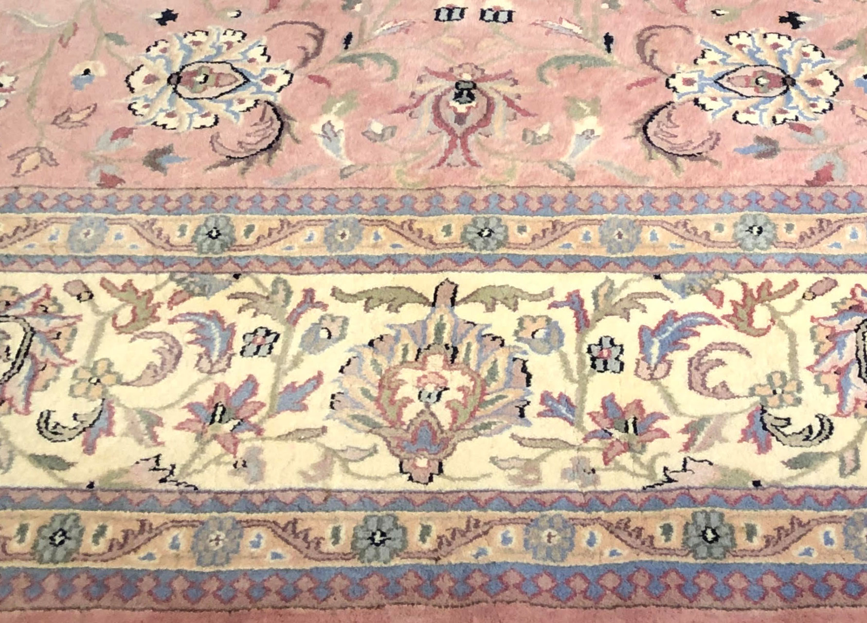 After-Sun faded and stained Kashan Oriental, Full Color Restoration