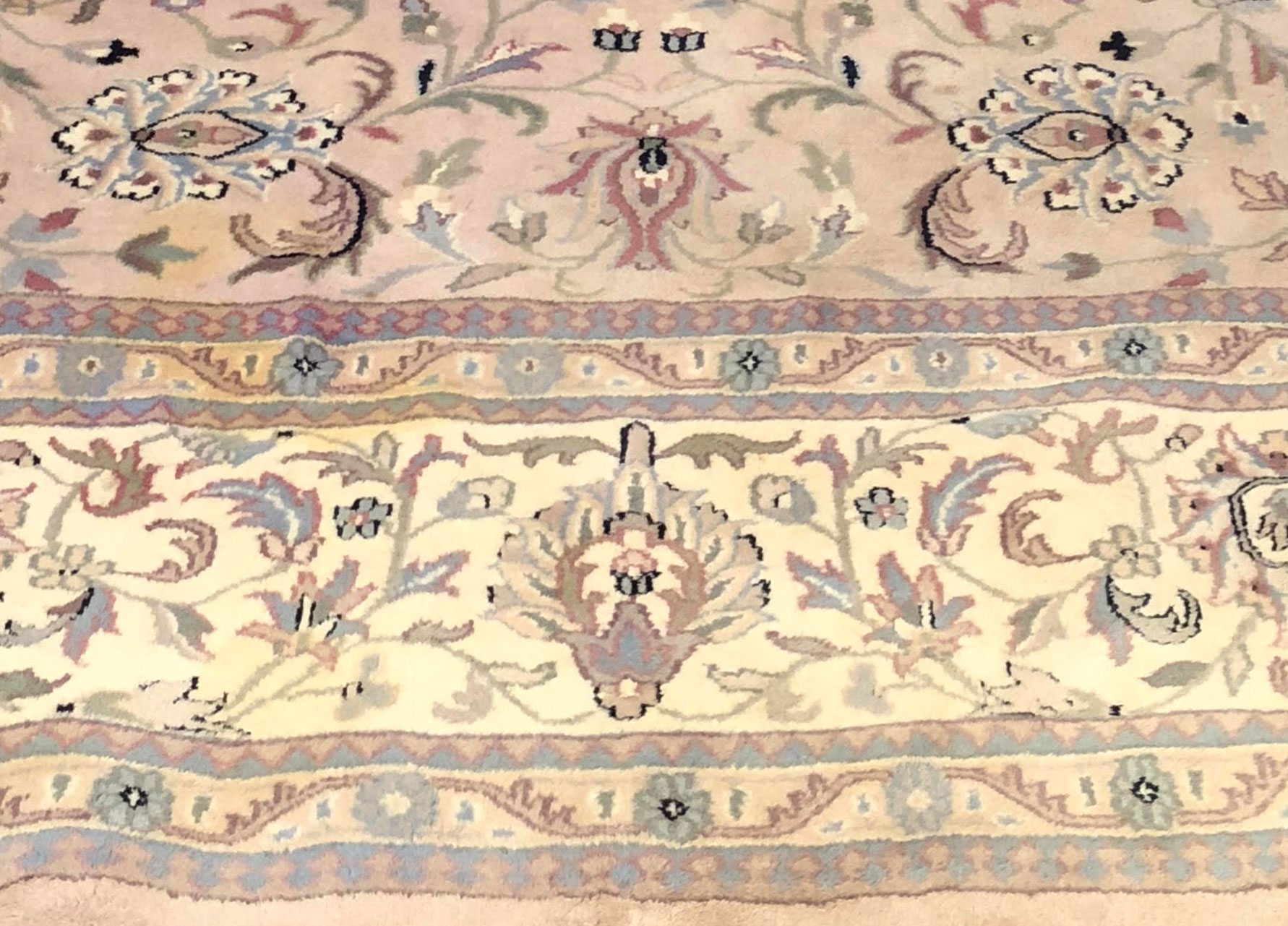 Before-Sun faded and stained Kashan Oriental, Full Color Restoration